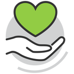 Hand Holding heart icon for group medical & dental insurance for holistic nutritionists